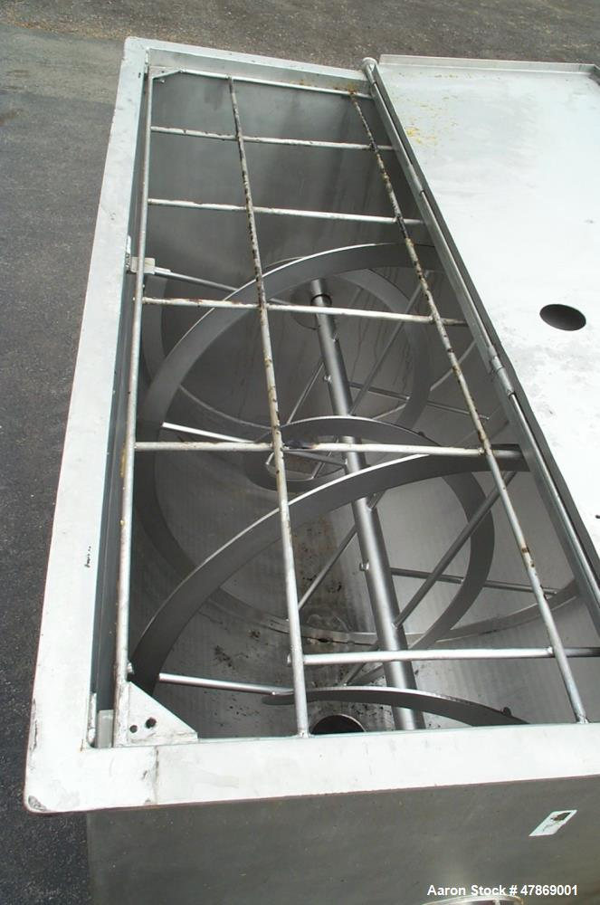 """Used- 100 Cubic Foot, Stainless Steel, Double Ribbon Blender. 48"""" wide x 72"""" long x 53"""" deep mixer vessel. 83"""" O.A.H., 6"""" of..."""