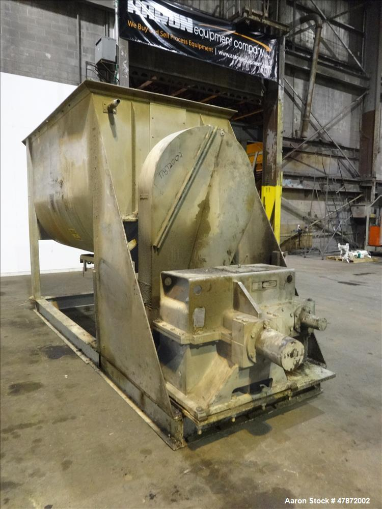 Used- Ribbon Blender, 220 Cubic Foot Working Capacity, 304 Stainless Steel