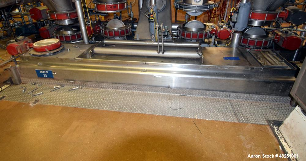 """Used- Double Spiral Ribbon Blender, Approximate 267 Cubic Feet Working Capacity, Stainless Steel. Non-jacketed trough 60"""" wi..."""