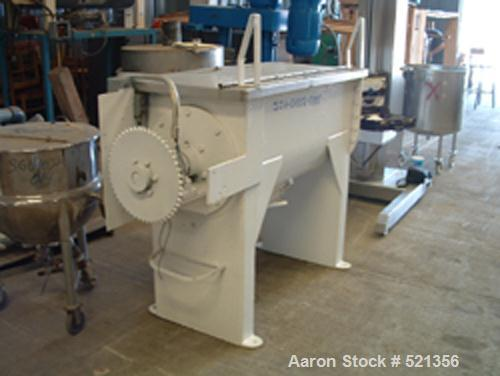 """USED: Stainless steel double ribbon blender, approximately 13 cu ftworking capacity. Trough measures 21"""" wide x 24"""" deep x 4..."""