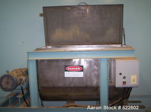 "USED: Ribbon blender, approximate 13 cu ft capacity. Inside of troughmeasures 24"" wide x 48"" long x 32"" deep. Overall dimens..."