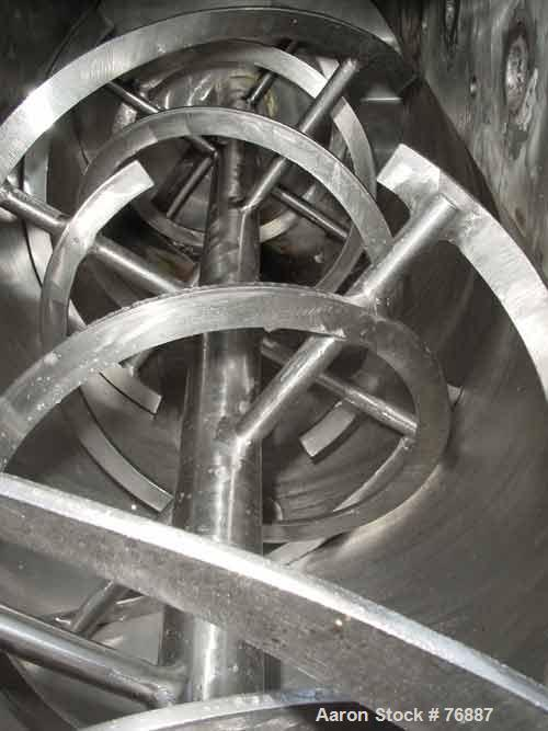"""USED: Ribbon blender, 25 cu ft, stainless steel, double spiral.Carbon steel jacket, water circulating trough 22-1/2"""" wide x ..."""