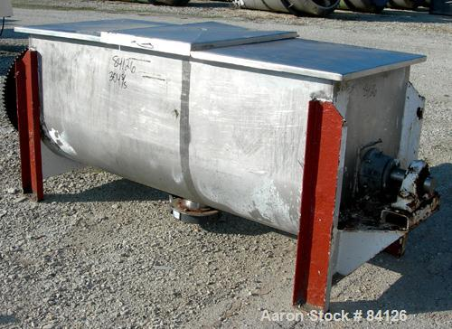"USED- Double Spiral Ribbon Blender, 36 Cubic Foot Working Capacity, 304 Stainless Steel. Non-jacketed trough 29-1/2"" wide x ..."