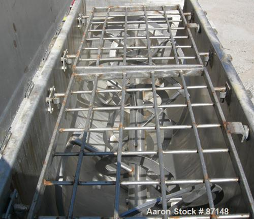 """USED: Double spiral ribbon blender, 36 cubic feet working capacity, 304 stainless steel. Non-jacketed trough 30"""" wide x 78"""" ..."""