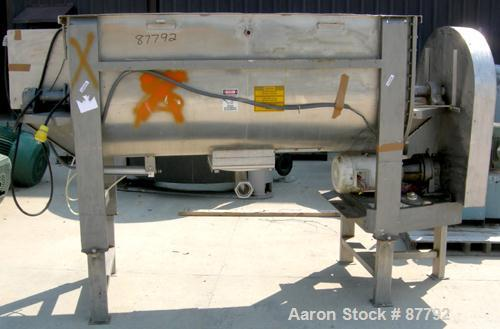 "USED: Double spiral ribbon blender, 36 cubic feet working capacity, 304 stainless steel. Non-jacketed trough 30"" wide x 78"" ..."
