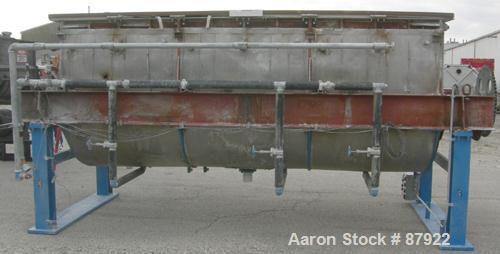 "USED: Ribbon blender, 214 cubic feet working capacity, 321 stainless steel. Dimple jacketed trough 54"" wide x 143-1/4"" long ..."