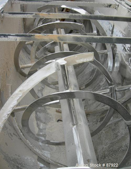"""USED: Ribbon blender, 214 cubic feet working capacity, 321 stainless steel. Dimple jacketed trough 54"""" wide x 143-1/4"""" long ..."""