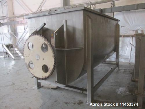 "Used- 300 Cubic Foot Aaron Process Ribbon Blender, Model IMB300. Sanitary stainless steel construction. Approximately 67"" wi..."