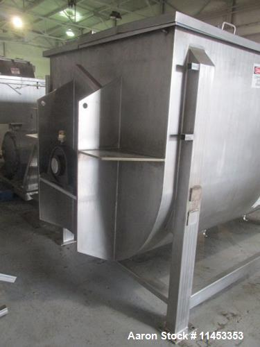 "Used- 300 Cubic Foot Aaron Process Ribbon Blender, Model IMB300. Sanitary stainless steel construction, approximately 67"" wi..."