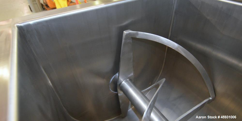 Unused- Aaron Process Double Spiral Ribbon Blender, Model NR-14, 304 Stainless Steel. Working capacity 14 cubic feet. Consis...