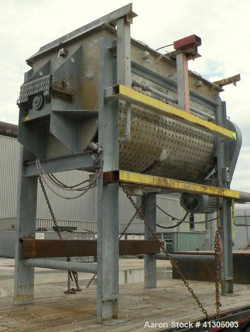 Used- Aaron Process Double Spiral Ribbon Blender, 100 cubic feet working capacity (116 total), model NR100, 304 stainless st...