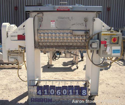 Used- Aaron Process Double Spiral Ribbon Blender, 14 Cubic Feet Working Capacity, 304 Stainless Steel. Dimple jacketed troug...