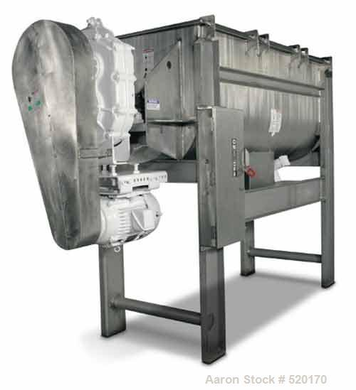 Unused-NEW: Aaron Process 36 cu ft double ribbon blender. Working capacity36 cu ft, full capacity 42 cu ft. Trough is T304 s...