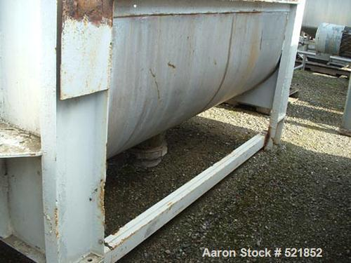 """USED: Aaron stainless steel single shaft double ribbon blender, 80cu ft capacity. 40"""" wide x 8' long, 1/2"""" x 2"""" inner and ou..."""