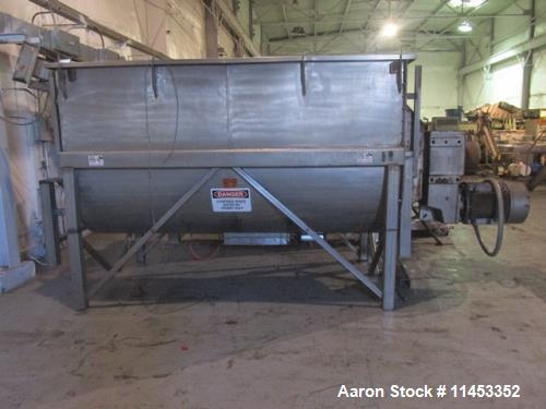 "Used- 200 Cubic Foot Aaron Process Ribbon Blender. Sanitary stainless steel construction, approximately 60"" wide x 120"" long..."