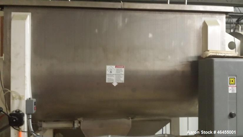 Used- Aaron Process Equipment Model IMB-35. 35 Cubic Foot Ribbon Blender. Trough constructed of stainless steel material on ...