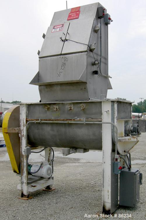 "USED: Aaron double spiral ribbon blender, 36 cubic feet working capacity, 304 stainless steel. Non-jacketed trough 30"" wide ..."