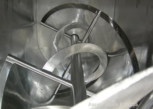"""USED: Aaron double spiral ribbon blender, 36 cubic feet working capacity, 304 stainless steel. Non-jacketed trough 30"""" wide ..."""