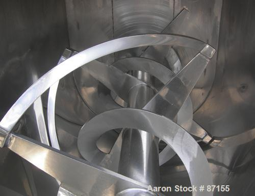 USED: Aaron Process double spiral ribbon blender, 80 cubic feet working capacity, 304 stainless steel. Non-jacketed trough 4...
