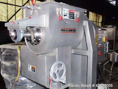 """Used- Paul O Abbe Double Spiral Ribbon Blender, model HM-1, 1 cubic foot, 316 stainless steel. 12"""" wide x 16"""" long trough, d..."""