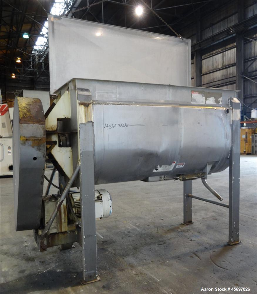 Used-American Process System Model Double Spiral Ribbon Blender DRB-80-H, 80 Cubic Feet Working Capacity, 304 stainless stee...
