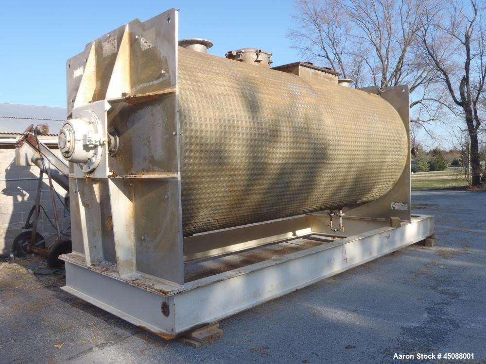 Used-American Process 500 Cubic Foot Working Capacity Cylindrical Ribbon/Paddle Blender, Model T-500.  316 Stainless steel c...
