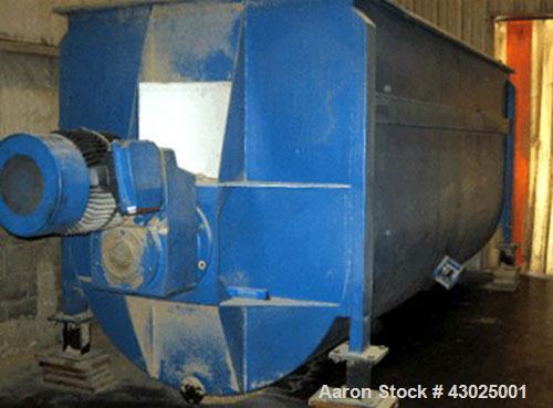 "Used-American Process Ribbon Blender, 485 cubic feet, carbon steel. Trough 264"" long x 72"" deep x 48"" high. Center bottom di..."