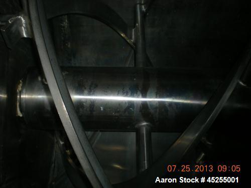Used- Stainless Steel Bepex Double Spiral Ribbon Blender, 200 cubic feet