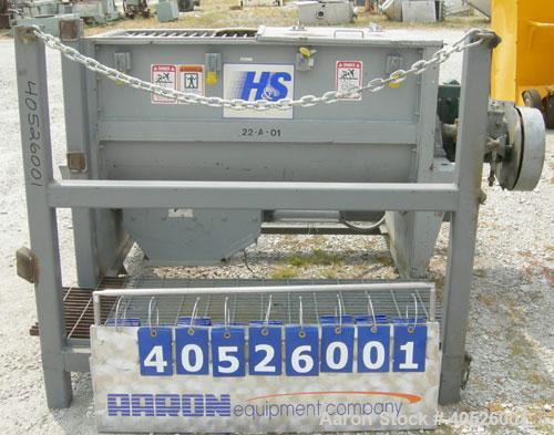 Used- Hayes & Stolz Double Spiral Ribbon Blender, 15 cubic feet working capacity, model HR15SS-1193, 304 stainless steel. No...