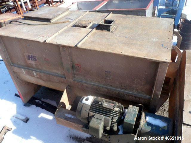 """Used- Hayes & Stolz Ribbon Blender, 128 Cubic Feet, Carbon Steel. Approximately 58"""" wide x 103"""" long trough, double ribbon, ..."""