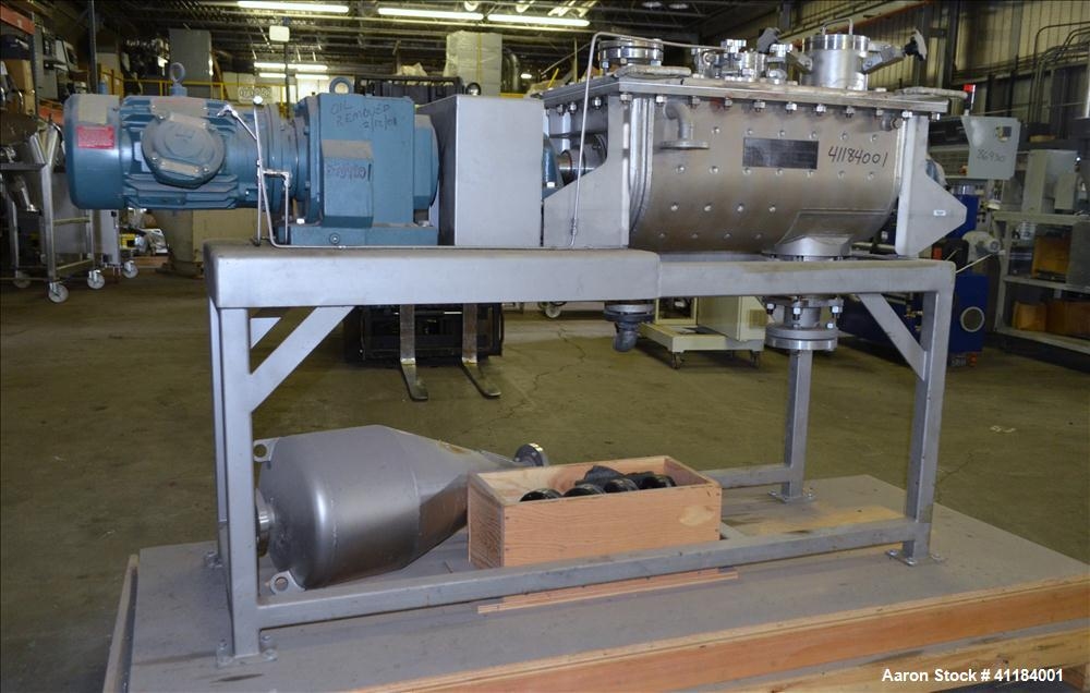 Used- Stainless Steel Hosokawa Bepex Strong Scott Double Spiral Ribbon Blender, 2 Cubic Feet Working Capacity, Model IMHS-2