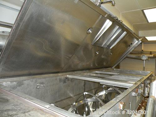 "Used-S.Howes Double Spiral Ribbon Blender, 170 Cubic Feet, Stainless Steel. Non-jacketed trough 48"" wide x 144"" long. Inner ..."