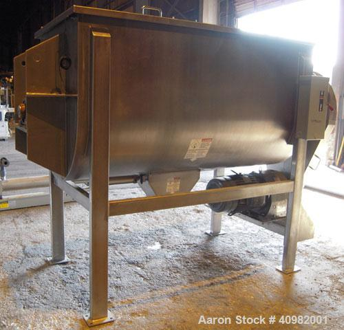 Used- Aaron Process Ribbon Blender, Model IMB 75, WORKING CAPACITY: 75 cubic feet. TROUGH: Constructed of stainless steel ma...
