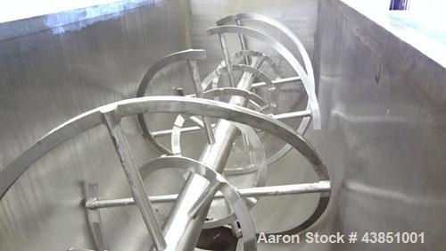 Used- J H Day Double Spiral Ribbon Blender, Model 44X10, 120 Cubic Feet Working Capacity (144 Total), 304 Stainless Steel. N...
