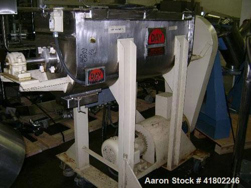 Used- J.H. Day Double Spiral Ribbon Blender, Model B, 5 cubic feet working capacity (6 total), stainless steel. Non-jacketed...