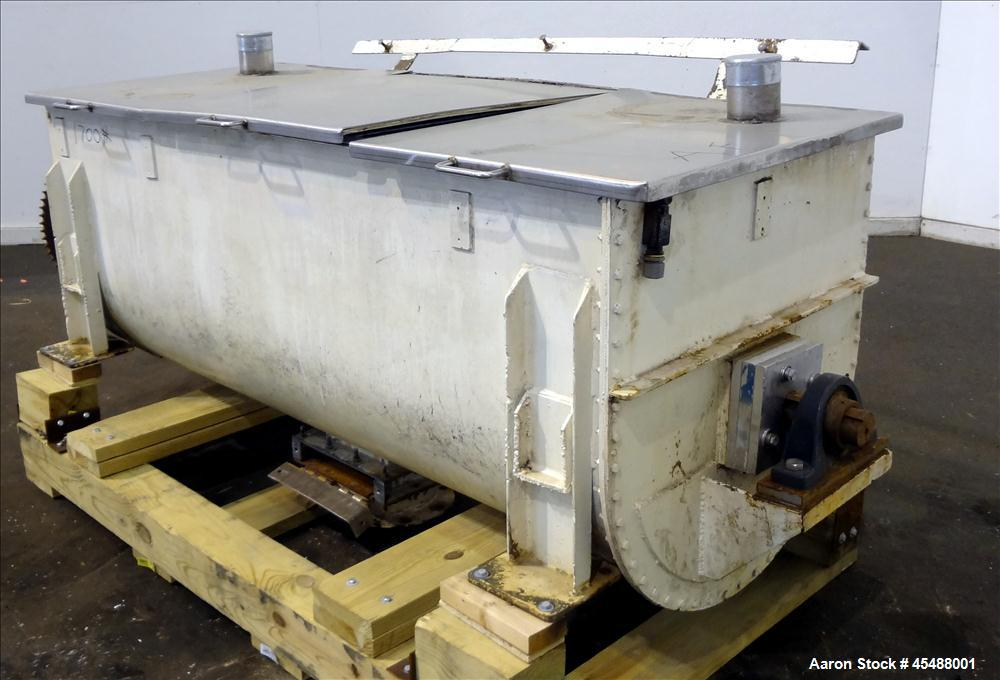 """Used- Double Spiral Ribbon Blender, 36 Cubic Feet Working Capacity. 304 Stainless Steel non-jacketed trough 78"""" long x 30"""" w..."""