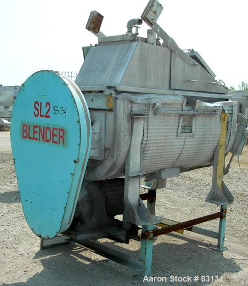 Used- Stainless Steel J.H. Day Double Spiral Ribbon Blender, 23 cubic feet working capacity, 25.5 total