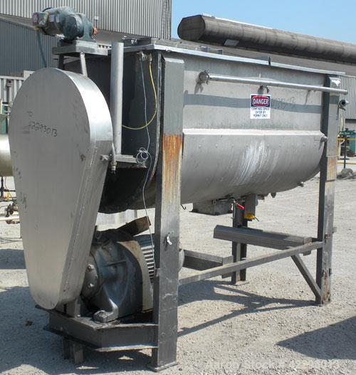 Used- J.H. Day Double Spiral Ribbon Blender, model F, 54 cubic feet working capacity (59 total), 316 stainless steel. Jacket...