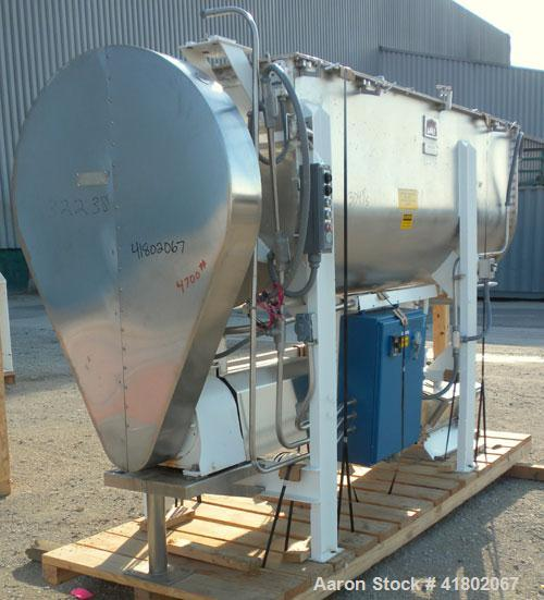 Used- Day Double Spiral Ribbon Blender, Model G, 62.5 cubic feet working capacity (69 total), 304 Stainless Steel. Non-jacke...