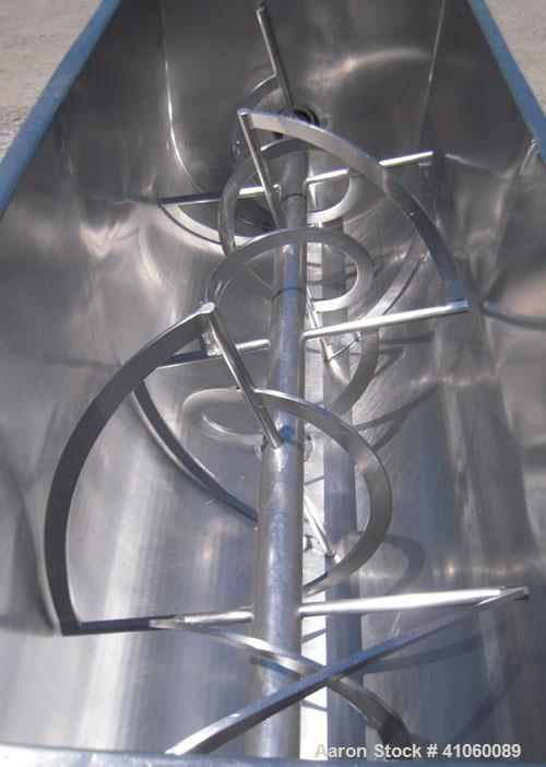 Used- J.H. Day Double Spiral Ribbon Blender, 80 cubic feet working capacity, 93 total, 304 stainless steel. Non-jacketed tro...
