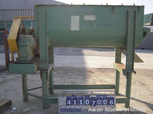 Used- J.H.Day Double Spiral Ribbon Blender, Approximately 32 Cubic Foot Capacity, Carbon Steel. Non-Jacketed trough measures...