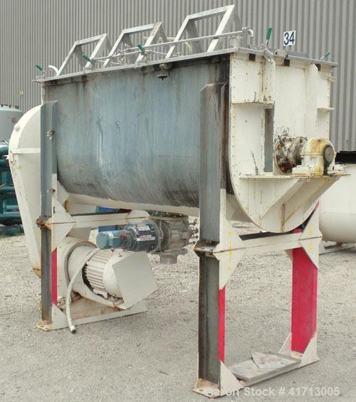 Used- J.H. Day Double Spiral Ribbon Blender, 79 cubic root working capacity. 304 stainless steel clad; carbon steel outside....