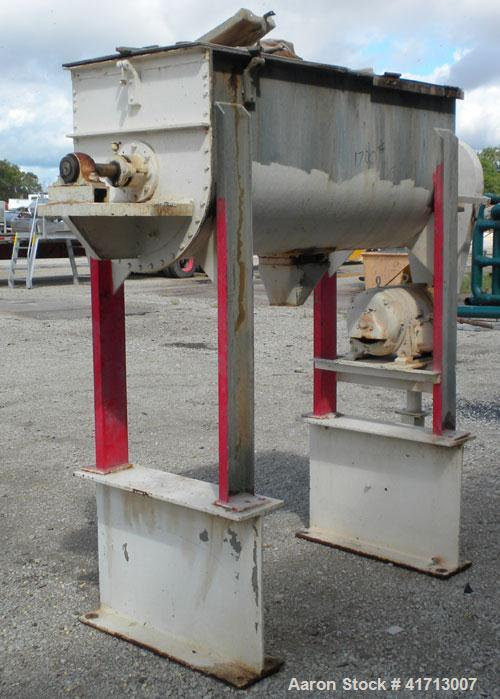 Used- J.H. Day Double Spiral Ribbon Blender, 17.8 cubic foot working capacity. 304 stainless steel clad; carbon steel outsid...