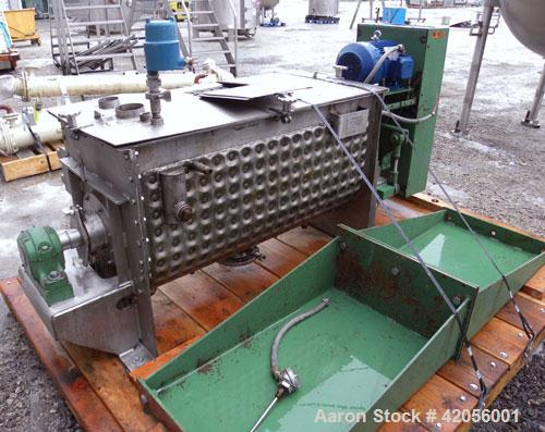 """Used- J.H. Day Paddle Mixer, 10.8 cubic feet working capacity, 12.5 total, 304 stainless steel. Dimple jacketed trough 21"""" w..."""