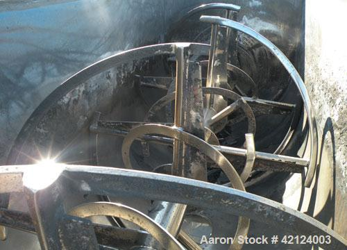 """Used- J.H. Day Double Spiral Ribbon Blender, 270 cubic feet working capacity (298 total), carbon steel. Jacketed trough 60"""" ..."""