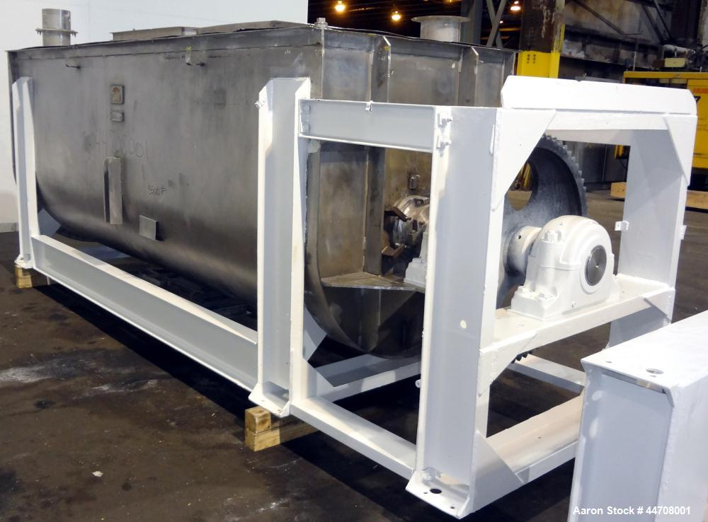 """Used- J.H. Day Double Spiral Ribbon Blender, 185 cubic feet working capacity, 304 stainless steel. Non-jacketed trough 50"""" w..."""