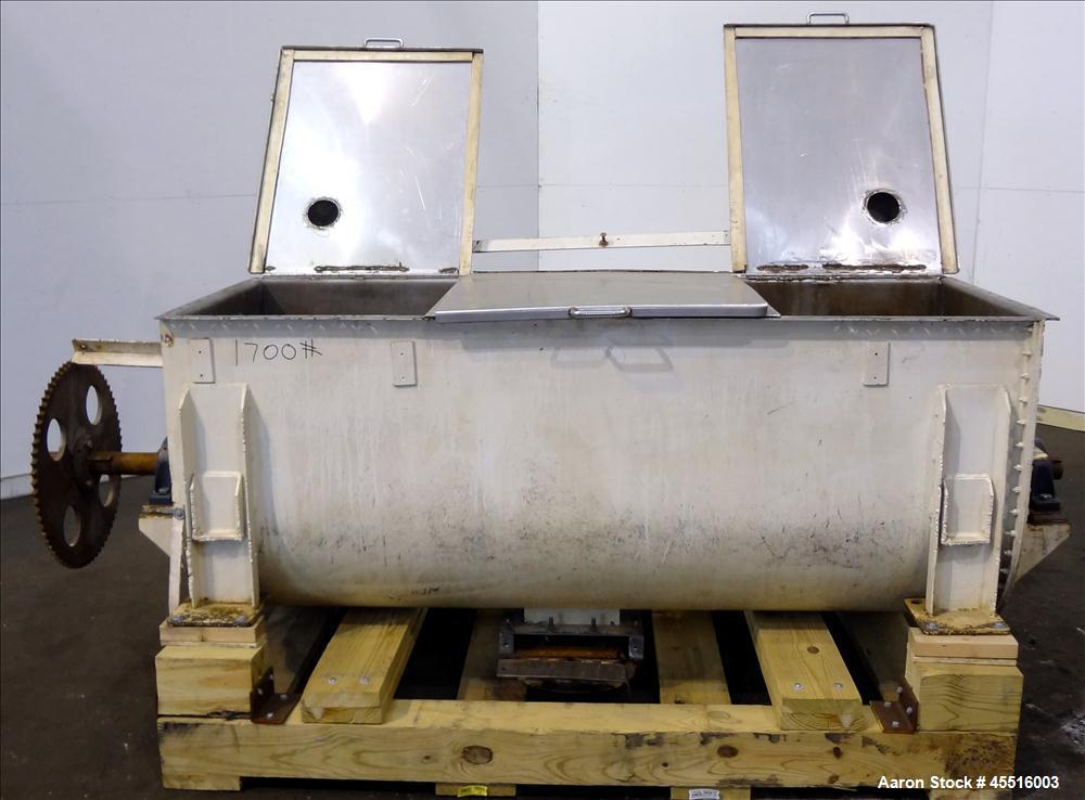 "Used- Double Spiral Ribbon Blender, 36 Cubic Feet Working Capacity.  304 Stainless steel non-jacketed trough 78"" long x 30"" ..."
