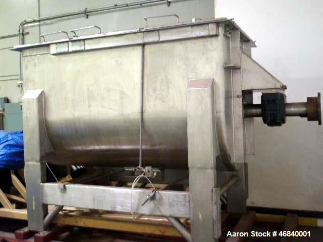 Used- JH Day Ribbon Blender. 155 cu. ft., stainless steel, double ribbon, 50HP drive, 3/60/460V. Center bottom outlet, no va...