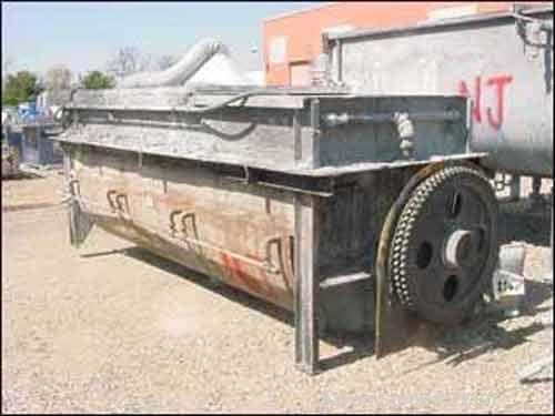 "Used- J.H. Day Ribbon Blender, 144 Cubic Foot Working Capacity, Carbon Steel. 44"" Wide x 144"" long jacketed trough. Double r..."