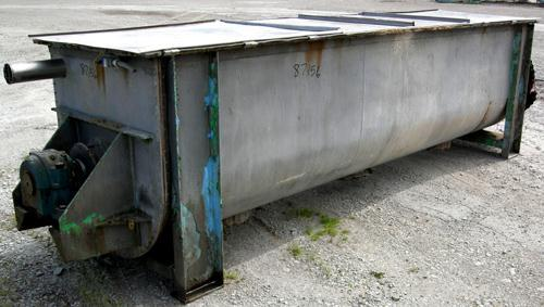 Used- J H Day Double Spiral Ribbon Blender, 100 Cubic Feet Working Capacity, 316 Stainless Steel. Non-jacketed trough 35-5/8...